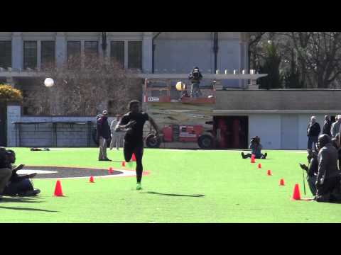 Georgia OLB Jarvis Jones runs the 40 yard dash at Pro Day
