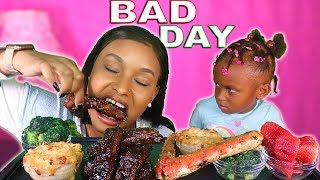 LAYLA HAD A BAD SCHOOL DAY + OVEN RIBS + CHEESY GOUDA MAC N CHEESE + KING CRAB MUKBANG | QUEEN BEAST