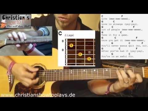 ★Mickey Silvia LOVE IS STRANGE (Dirty Dancing)   Akustik Gitarre Tutorial [Deutsch] +Tabs★