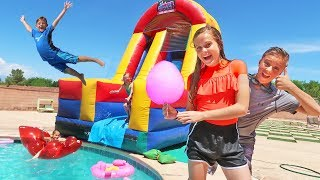GIANT 20 FEET TALL WATER SLIDE SLIP N SLIDE! Carl and Jinger