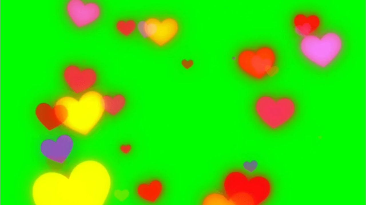 Green Screen Hearts / Floating / Flying / Fluttering ( Happy ...