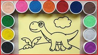 TÔ MÀU TRANH CAT KHỦNG LONG ĐI DẠO - Colored sand painting dinosaurs toys - Đồ chơi Chim Xinh