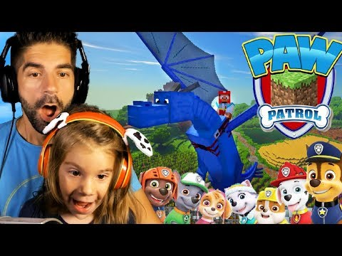 Paw Patrol Minecraft Adventure with My Daughter! :: Dragon Flying!