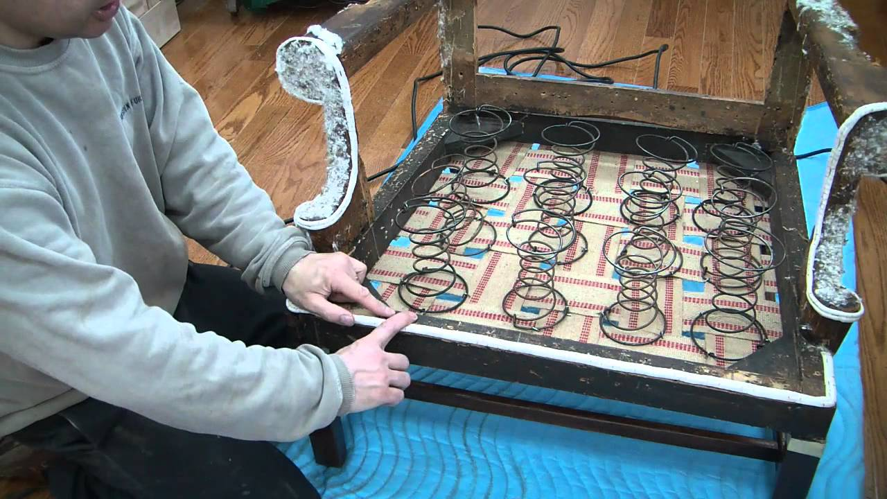 Sofa 8 Way Hand Tied Springs Reupholstering A Wing Chair Spring Up Pt 5 - Youtube