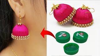 বোতলের ক্যাপ দিয়ে কানের ঝুমকা // Bottle Cap Silk Thread Jhumkas || Bridal Earring