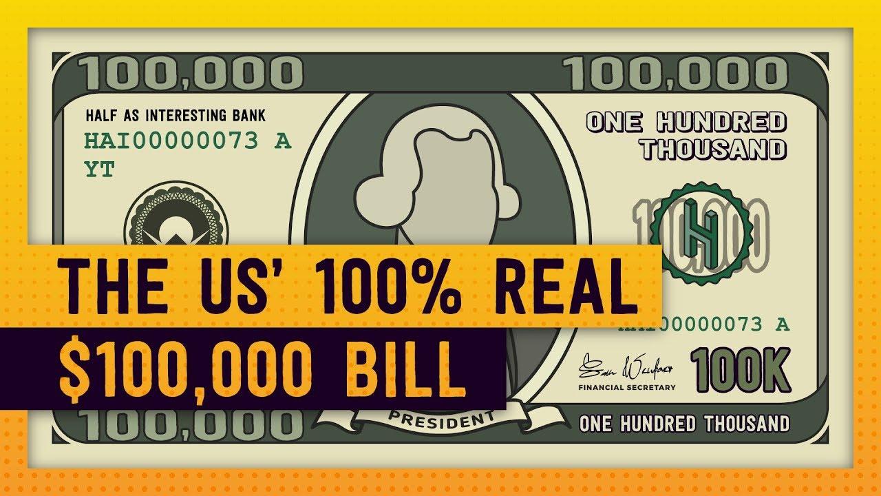 Real American 100 000 Bill