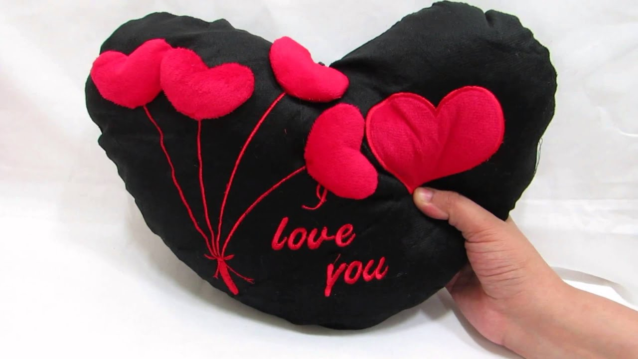 Love Heart Black With 3D Hearts Pillow With I Love You On