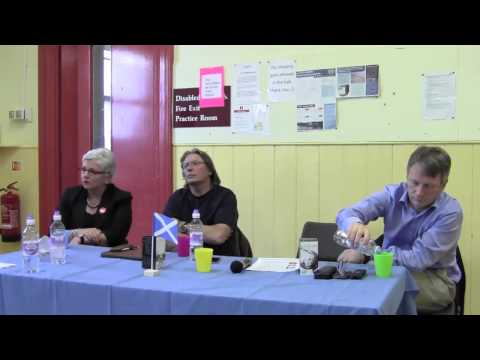 Derek Bateman Ivan Mckee Carol Fox answer Qs from lively Scottish Borders audience