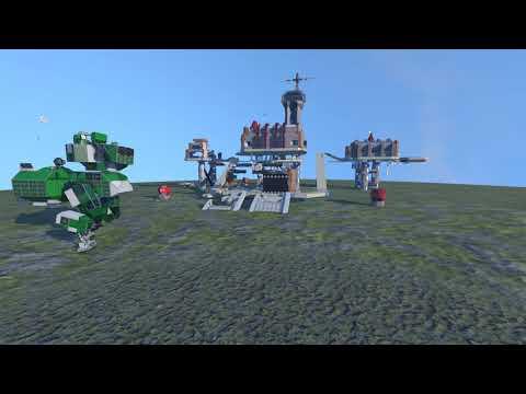 Large grid autonomous bipedal mech vs large pirate station.