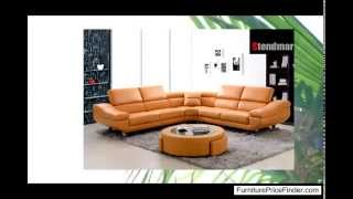 Modern Orange Black Bonded Leather Sectional Sofa Set Bq-s307