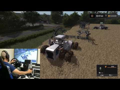 farming simulator 2017 big bud DLC test with my dad wheel/joystick
