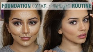 Tutorial | Foundation Contour & Highlight Routine | Kaushal Beauty