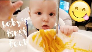 FEEDING OUR BABY FOOD FOR THE FIRST TIME!