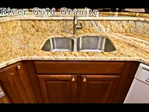 River Gold Granite With Retro Tile Backsplash Youtube