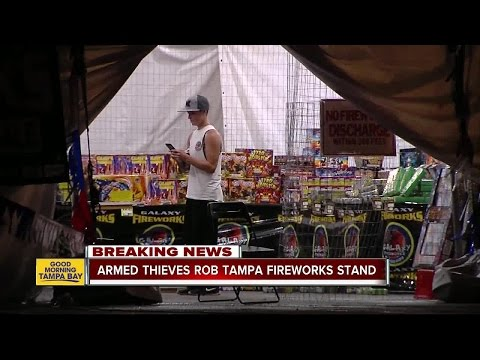 Armed men wearing masks rob Tampa fireworks stand