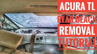 HOW TO REMOVE ACURA TL REAR DECK REAR SUBWOOFER AND SPEAKER REMOVAL TUTORIAL
