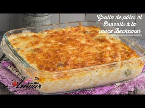 gratin-de-pâtes-et-brocolis-à-la-sauce-béchamel,-repas-de-diner-rapide-pour-les-enfants