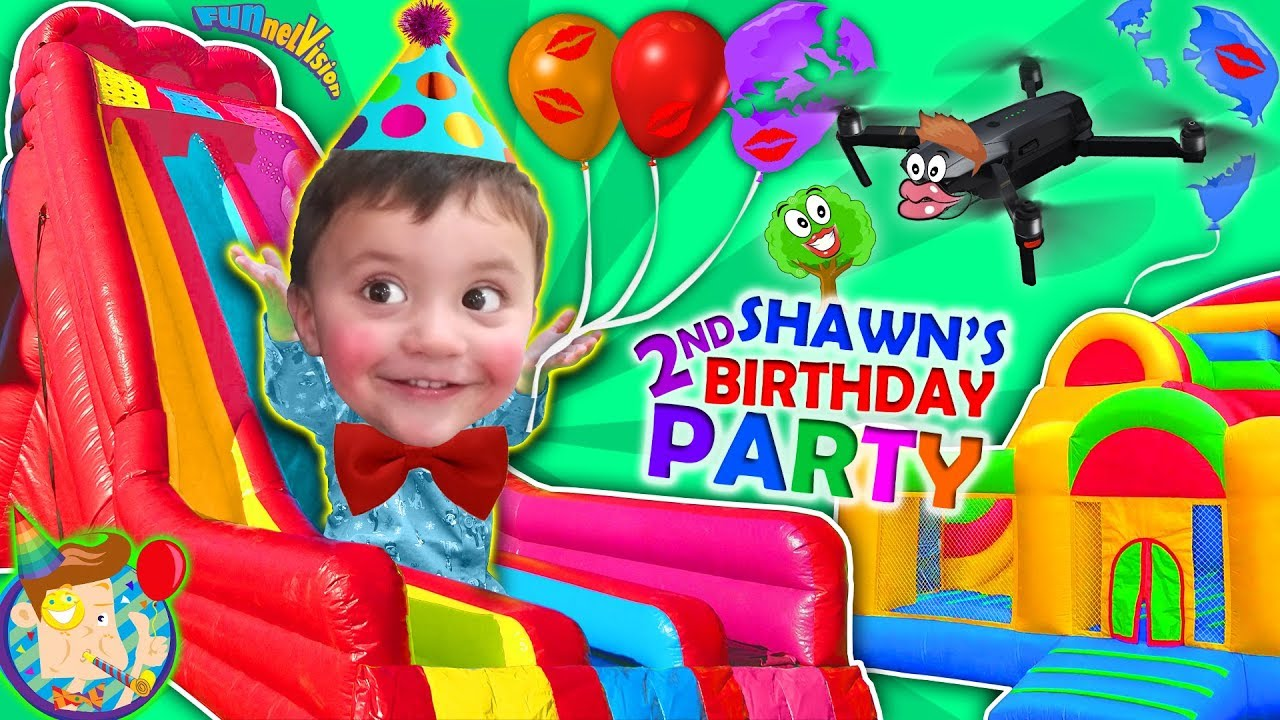 Shawn S 2nd Birthday Party Bounce House Inflatable Outdoor Playground Giant Slides Funnel Visi