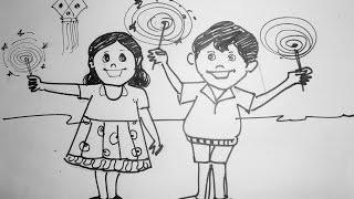 Happy Diwali Drawing