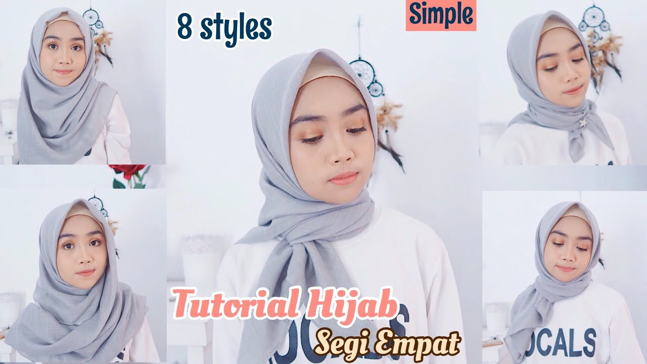 simple! tutorial hijab segiempat (8 styles) - youtube