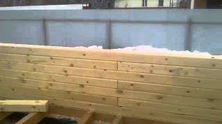 Сборка сруба из профилированного бруса(Сборка стен сруба из профилированного бруса. Строительство бани в Учхозе., 2016-03-01T04:31:16.000Z)