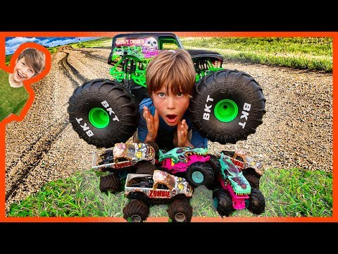 RC Grave Digger Monster Truck Zombie Crushing!