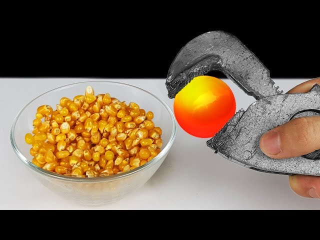 EXPERIMENT: Glowing 1000 Degree METAL BALL VS Popcorn