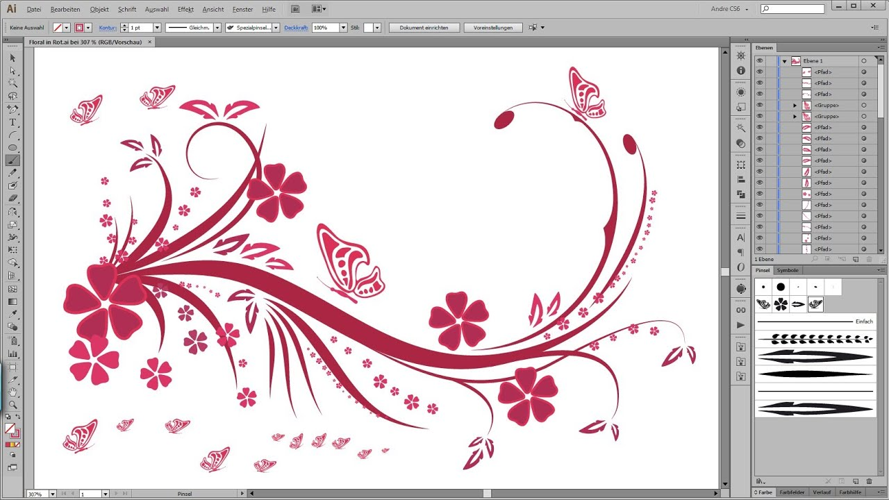 Illustrator Tutorial Floral Swirl Ornaments Butterfly