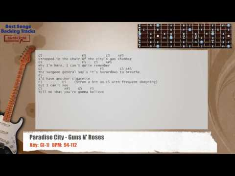 Paradise City - Guns N' Roses Guitar Backing Track with chords and lyrics