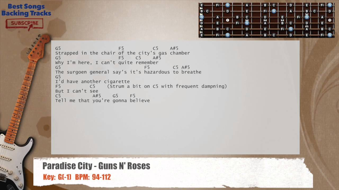 Paradise City Guns N Roses Guitar Backing Track With Chords And
