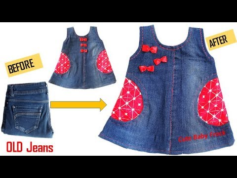 7e3b70bd47fb Quick Transformation Old Jeans Into Cute Baby Frock - YouTube