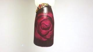 Роза по мокрому гелю  Дизайн ногтей гель-лаками