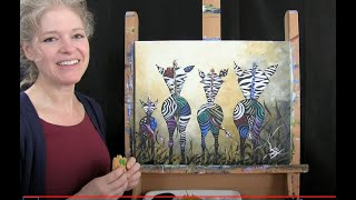 Wild Zebra Butts | Cookies And Canvas For Kids | Acrylic Paint Step By Step Tutorial