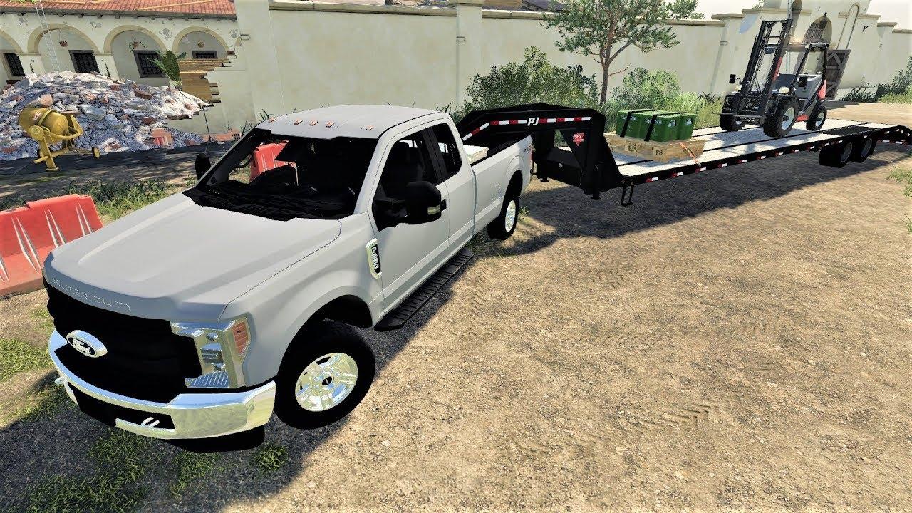Farming Simulator 19 First Mods - Ford F-250, Chevy Silverado 3500HD Dually  & 40 Ft Pj Trailer