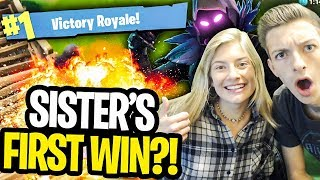 My SISTER Gets Her FIRST FORTNITE *WIN* EVER... well sorta (Fortnite Battle Royale Funny Moments)