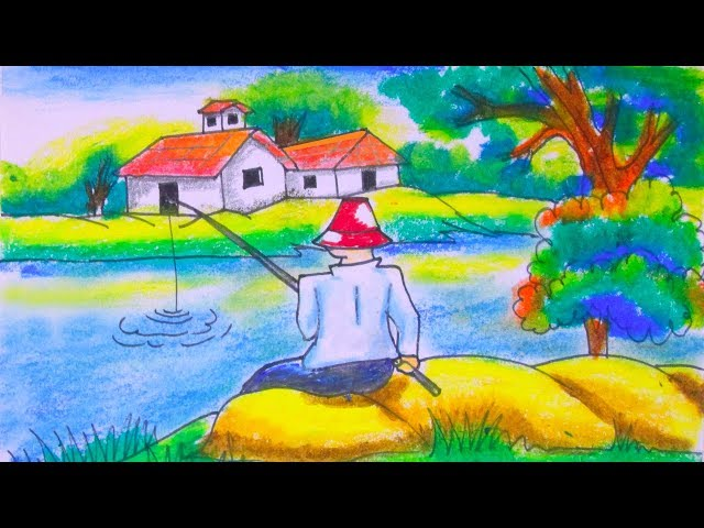 Spring season drawing- Fisher man- Fishing in the river- Village scenery step by step by Indrajit