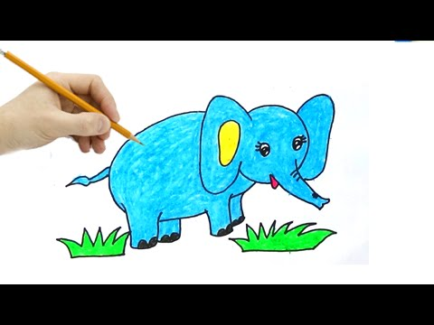 Vẽ Tranh Con Voi , Chú Voi con - How To Draw The Little Elaphant