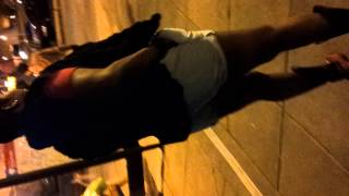 Drunk lady pussy poppin at station (throwitup)