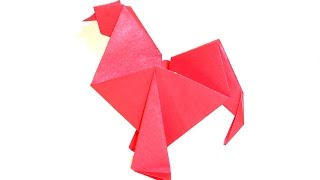 How to make paper origami rooster (cock origami). Оригами петух из бумаги