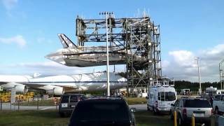 Preparing for a new home: Space shuttle Discovery and Shuttle Carrier Aircraft mating operations.