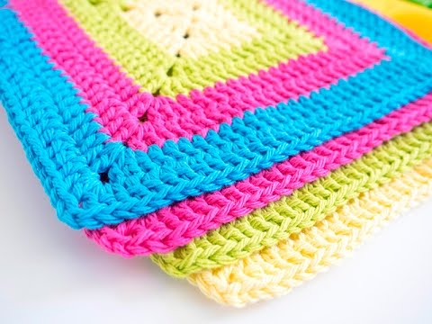 Crochet Granny Square Dishcloth Pattern : Easy Granny Square Dishcloth Pattern - YouTube