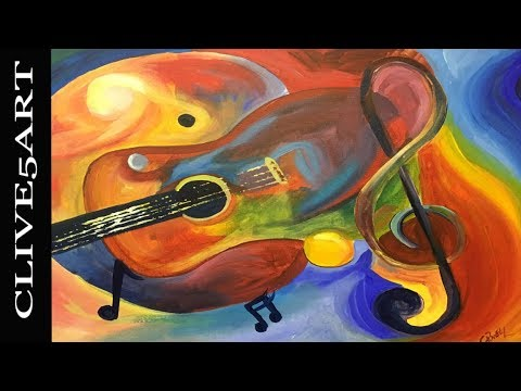 CUBIST guitar  Acrylic painting for beginners, Acrylic paint