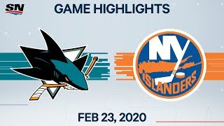 NHL Highlights | Sharks vs. Islanders - Feb. 23, 2020