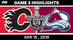 NHL Highlights | Flames vs Avalanche, Game 3 - April 15, 2019