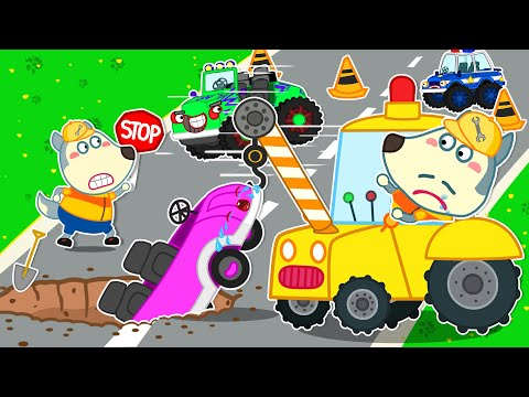 Wolf Family⭐️Small Car Need to be Rescue - Wolfoo Helps the Police Car Stop Monster Truck