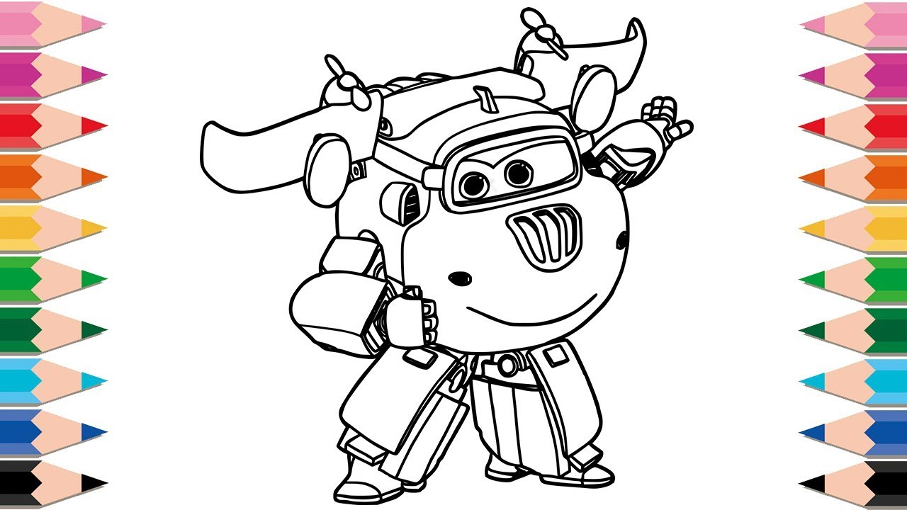 How To Draw Super Wings Transforming Donnie Coloring Pages Learn