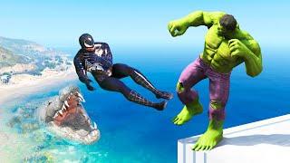 GTA 5 Water Ragdolls Hulk vs Venom Jumps/Fails (Euphoria Physics Funny Moments)