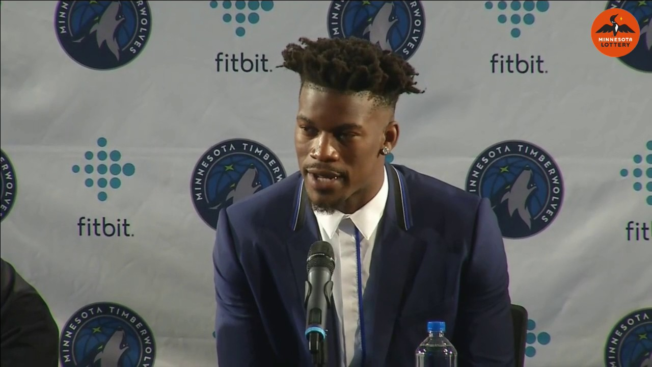 Jimmy Butler gives out phone number during Wolves press conference