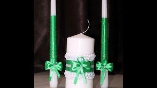 Как сделать свечи «Семейный очаг» Свадебные свечи своими руками МК
