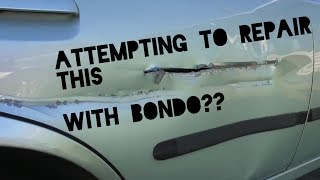Body filler dent repair. The detailed how to guide; repair a hole with just bondo!!